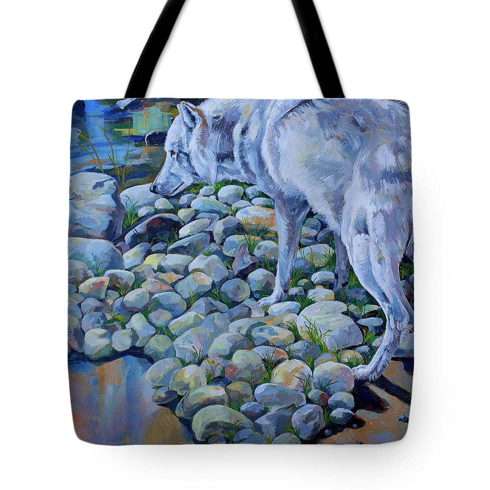 Wolf Tote Bag featuring the painting Wolf Creek by Derrick Higgins