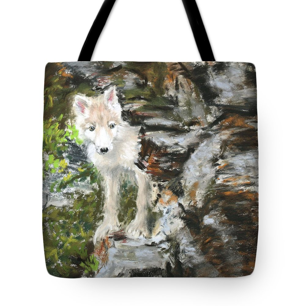 Wolf Tote Bag featuring the painting Wolf Pup by Sandy Brooks