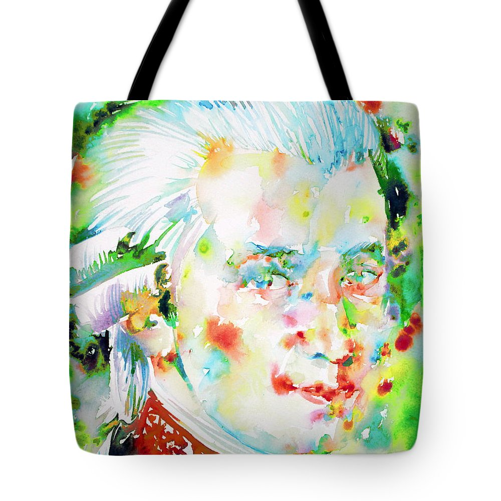 Wolfgang Amadeus Mozart Tote Bag featuring the painting Wolfgang Amadeus Mozart by Fabrizio Cassetta