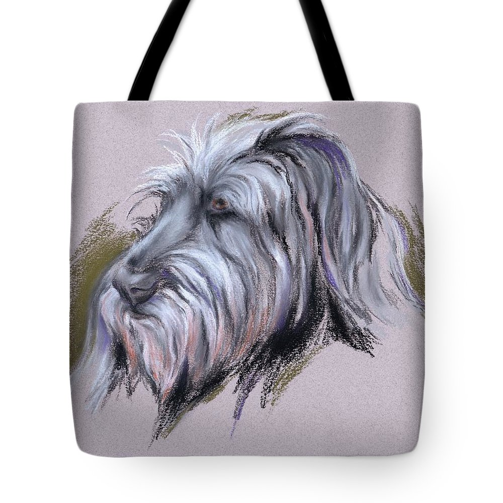 Dog Tote Bag featuring the pastel Wolfhound Portrait by MM Anderson
