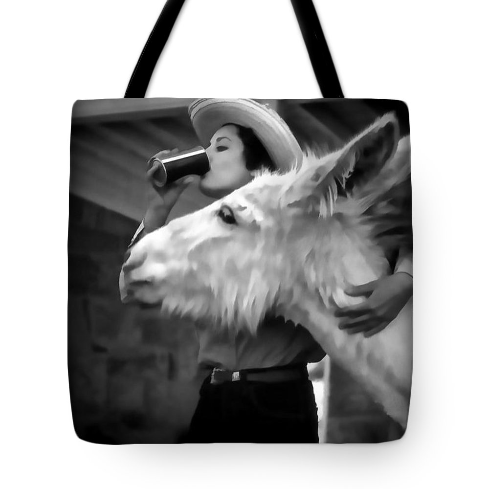 Donkey Tote Bag featuring the digital art Woman And Donkey Black And White by Cathy Anderson