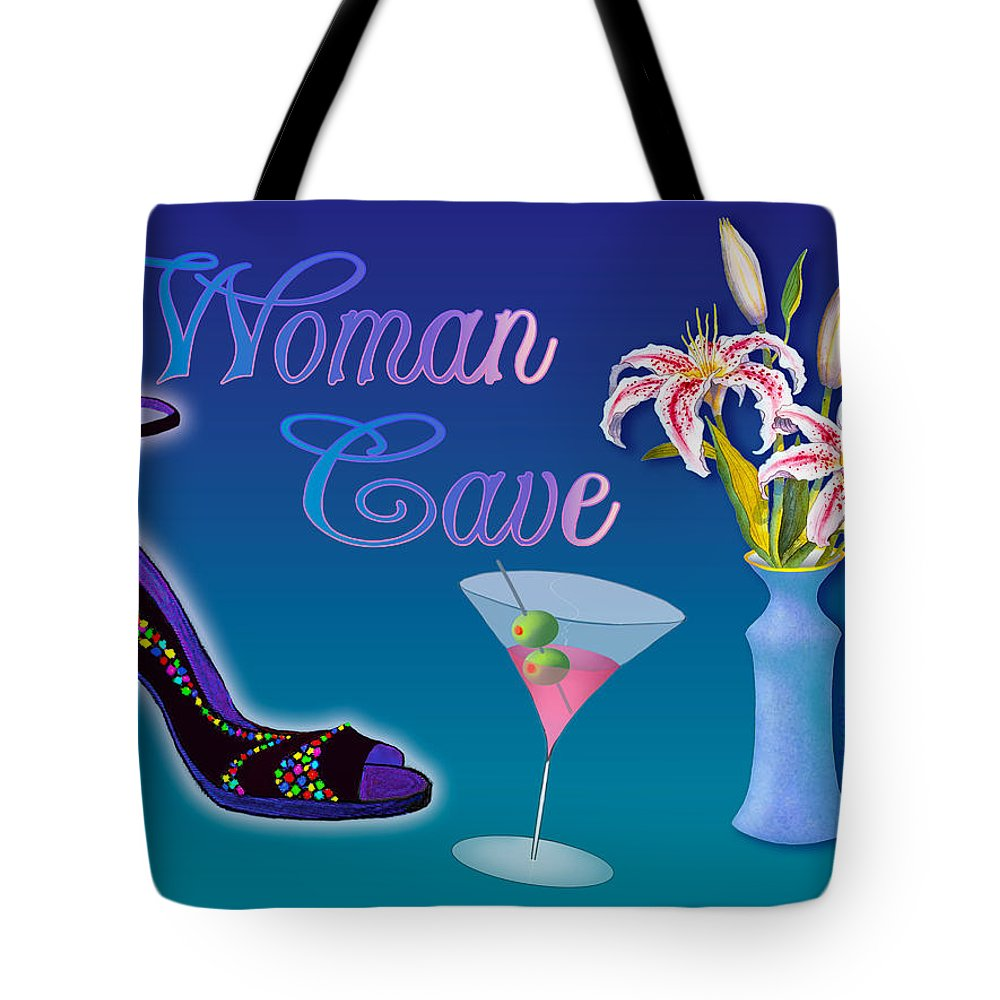 Stargazers Tote Bag featuring the painting Woman Cave With Stargazers by Teresa Ascone