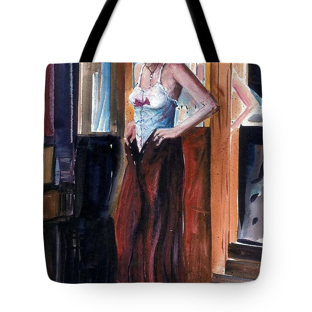 Woman Dressed Tote Bag featuring the painting Woman Dressed by Steven Schultz