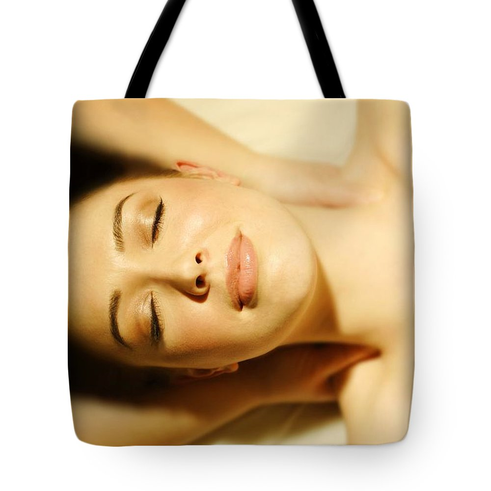 View Tote Bag featuring the photograph Woman Having Massage by Don Hammond