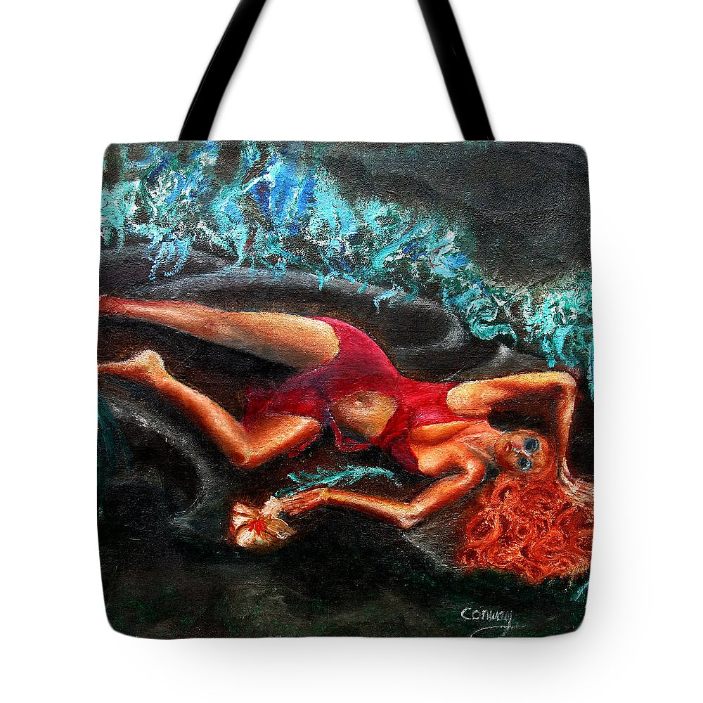 Females Tote Bag featuring the painting Woman In A Red Dress Holding A Flower by Tom Conway