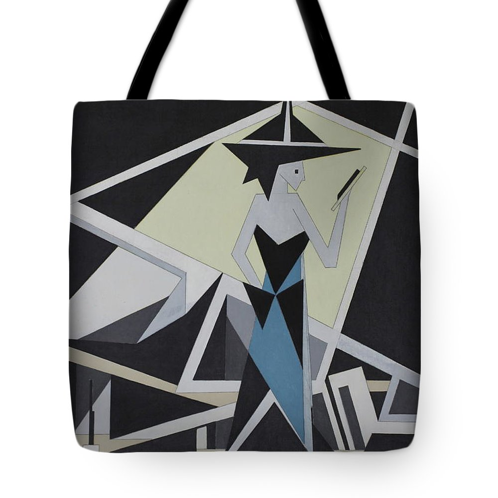 Abstract Print Tote Bag featuring the painting Woman In Reflection by Paul A Addams Archive