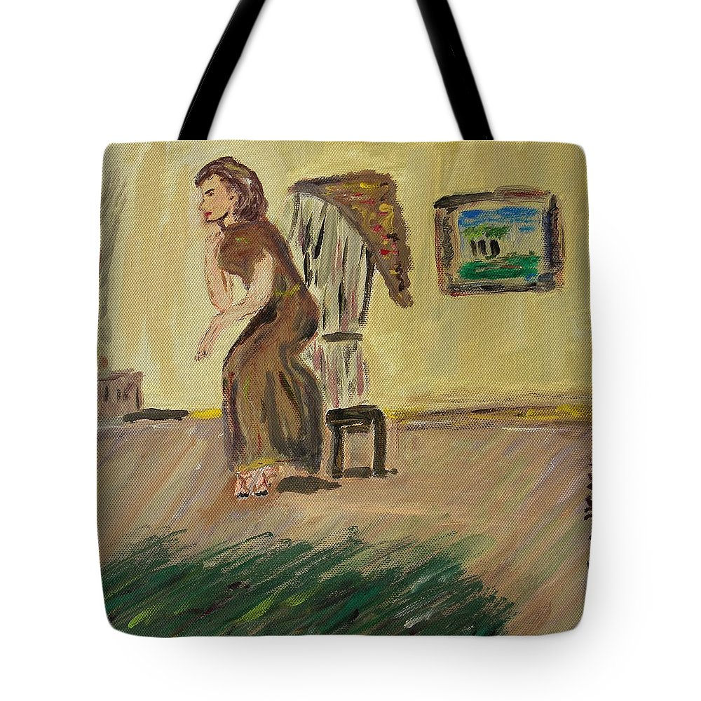 Woman In The Art Gallery Tote Bag featuring the painting Woman In The Art Gallery by Mary Carol Williams