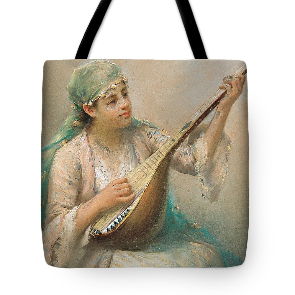 Fausto Zonaro Tote Bag featuring the painting Woman Playing A String Instrument by Fausto Zonaro
