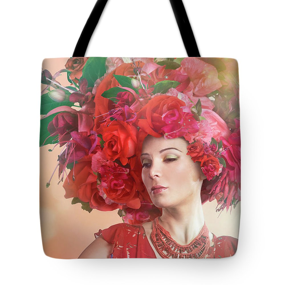 Art Tote Bag featuring the photograph Woman Wearing A Big Red Hat Made Of by Paper Boat Creative