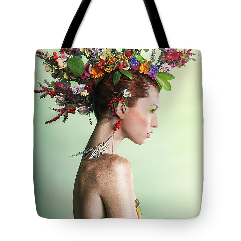 Art Tote Bag featuring the photograph Woman Wearing A Colorful Floral Mohawk by Paper Boat Creative