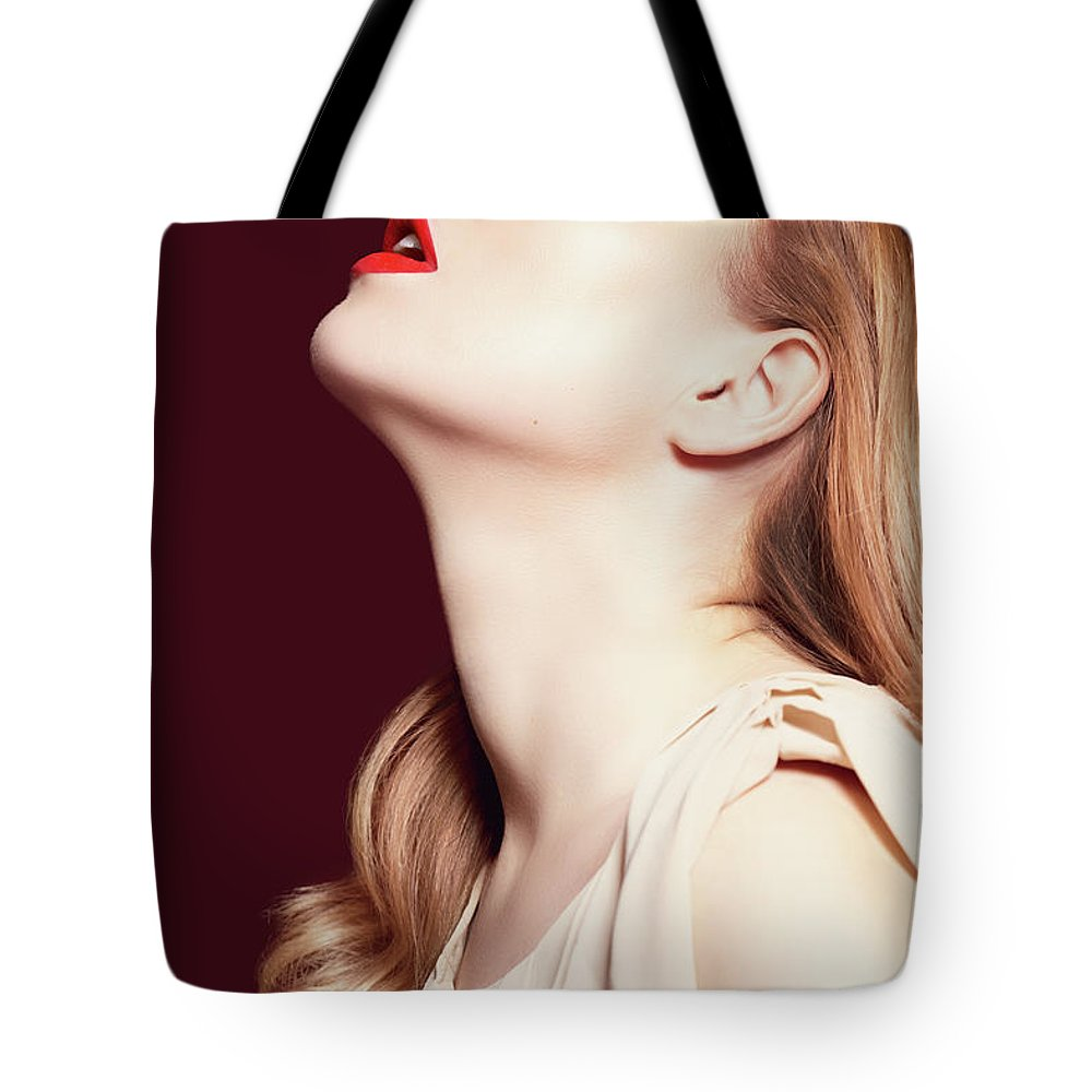 People Tote Bag featuring the photograph Woman Wearing Hat by Iconogenic