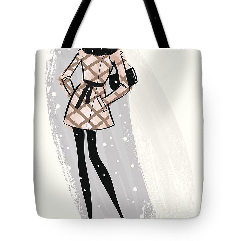 People Tote Bag featuring the digital art Woman Wearing Jacket In Snow by Mcmillan Digital Art