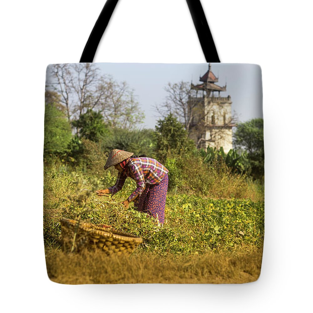 Three Quarter Length Tote Bag featuring the photograph Woman Weeding At Nanmyin Tower by Merten Snijders
