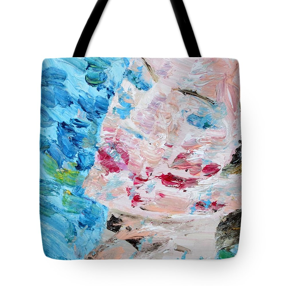 Woman Tote Bag featuring the painting Woman With Necklace - Oil Portrait by Fabrizio Cassetta