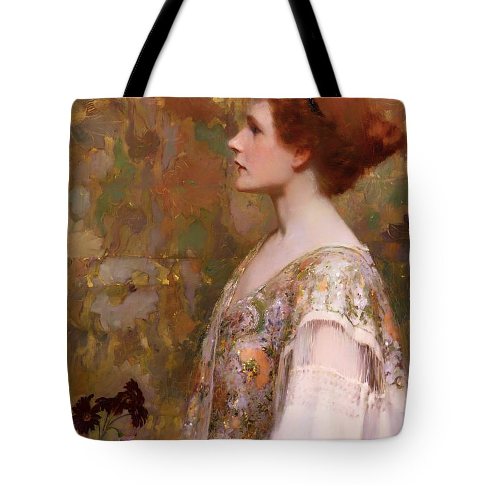 Painting Tote Bag featuring the painting Woman With Red Hair by Mountain Dreams