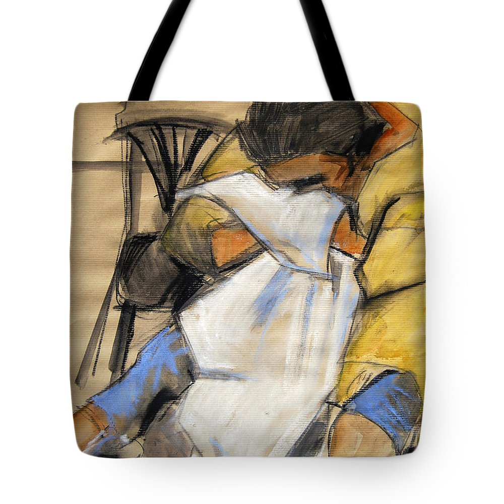 Live Model Study Tote Bag featuring the painting Woman With White Towel - Helene #9 - Figure Series by Mona Edulesco