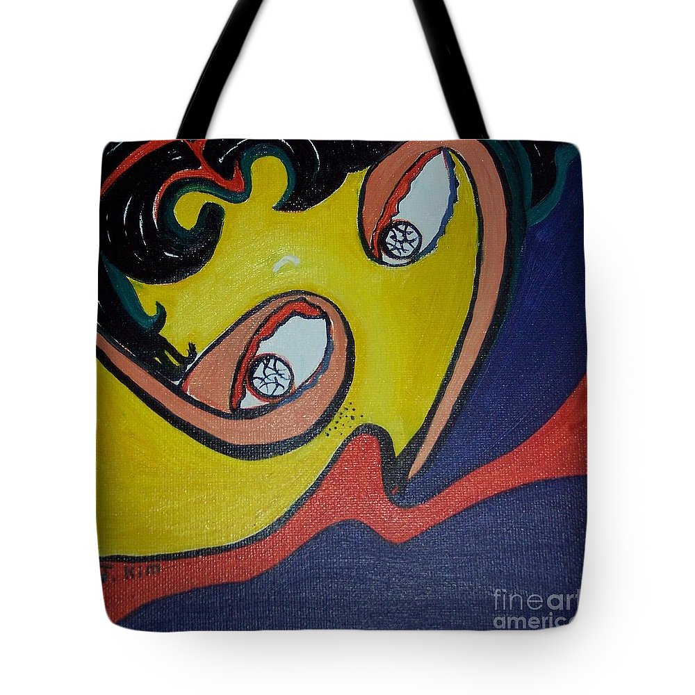 Abstract Figurative Paintings Tote Bag featuring the painting Woman20 by Seon-Jeong Kim