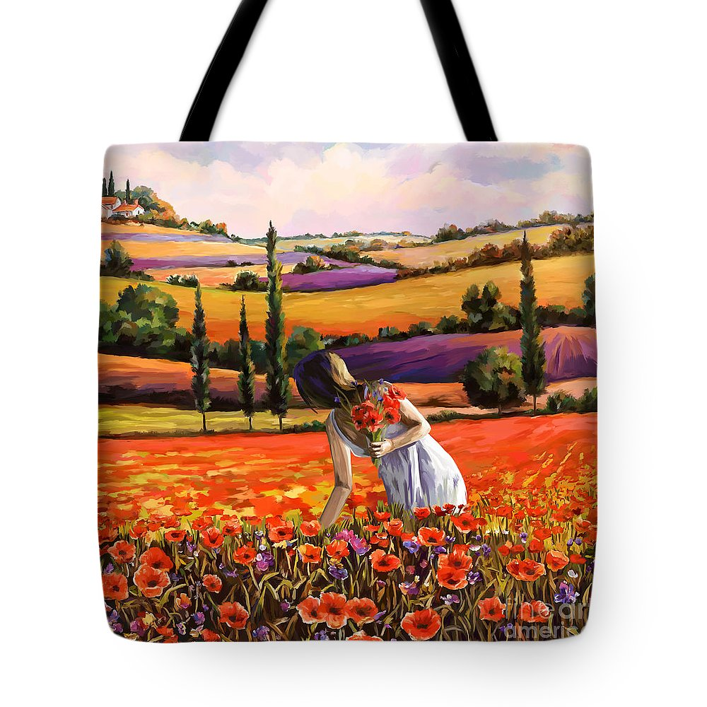 Women Tote Bag featuring the painting Women Gathering Poppies In Tuscan by Tim Gilliland