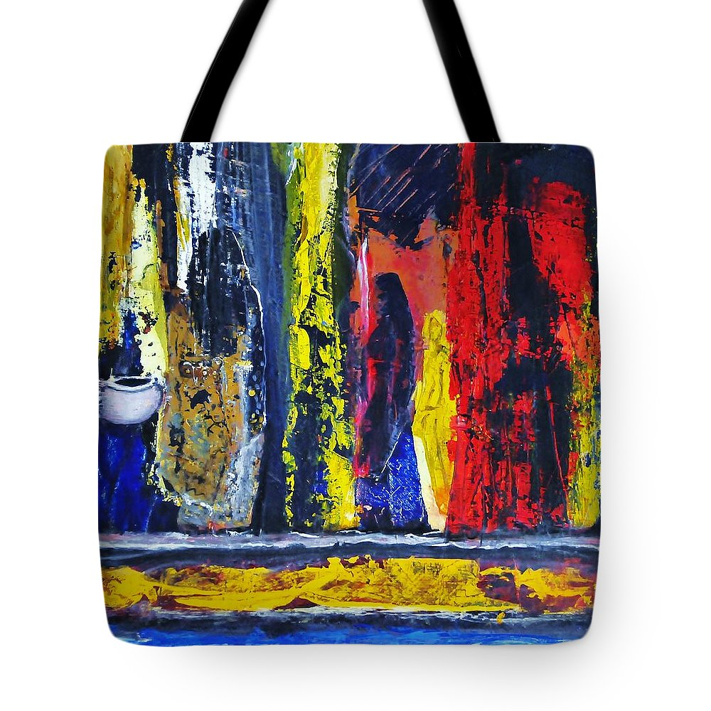 Woman Tote Bag featuring the painting Women In Ceremony by Kicking Bear Productions