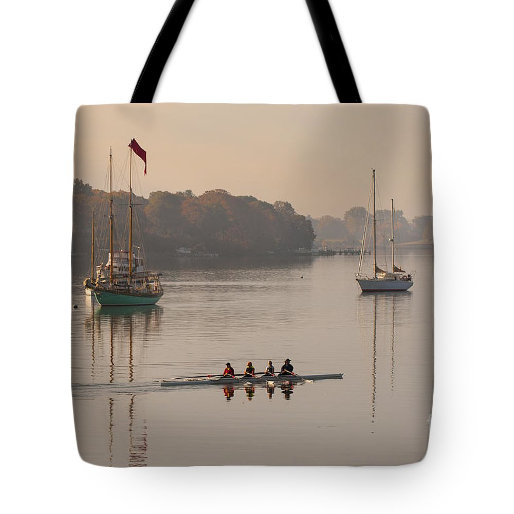 2013 Tote Bag featuring the photograph Women's Four And More On The Chester River by Lauren Brice