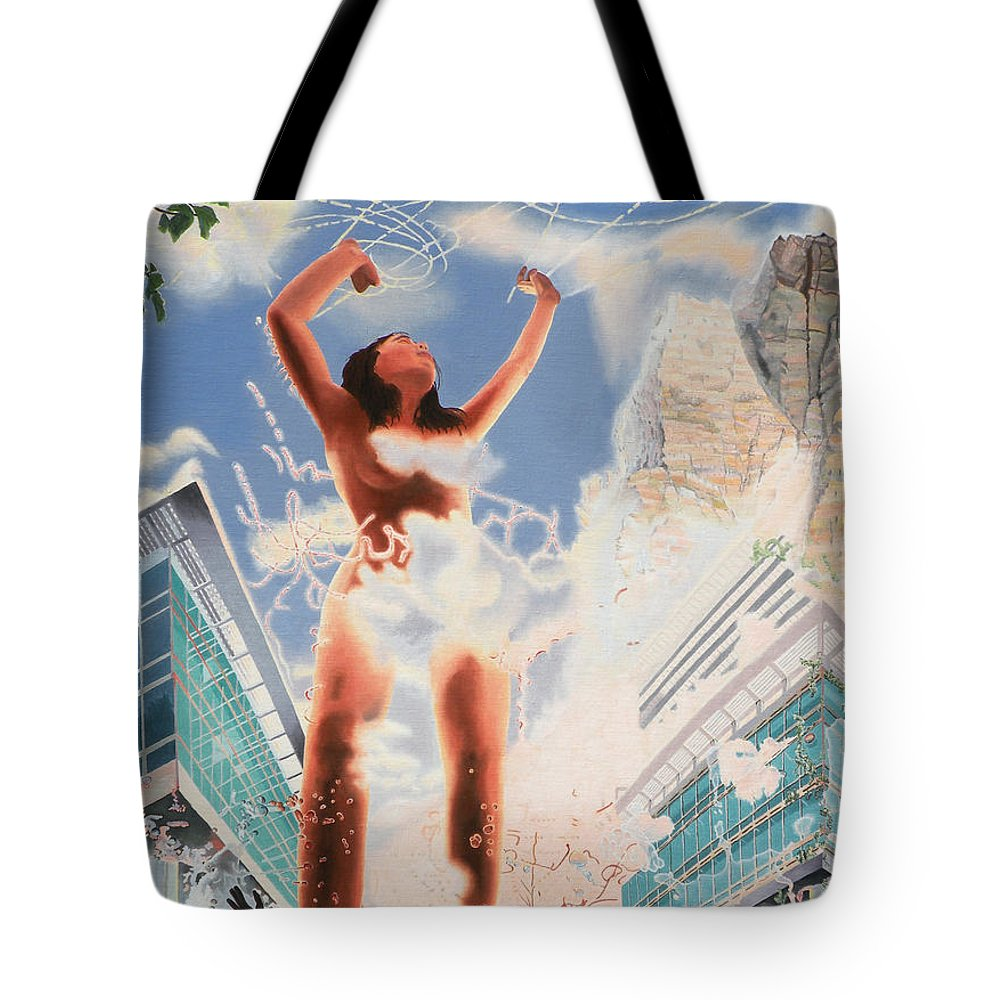 Surreal Tote Bag featuring the painting Wonder by Dave Martsolf