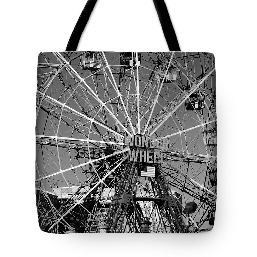 Brooklyn Tote Bag featuring the photograph Wonder Wheel Of Coney Island In Black And White by Rob Hans