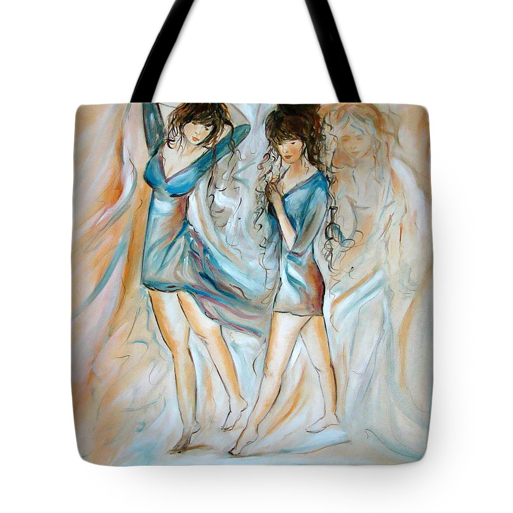 Contemporary Art Tote Bag featuring the painting Wondering by Silvana Abel
