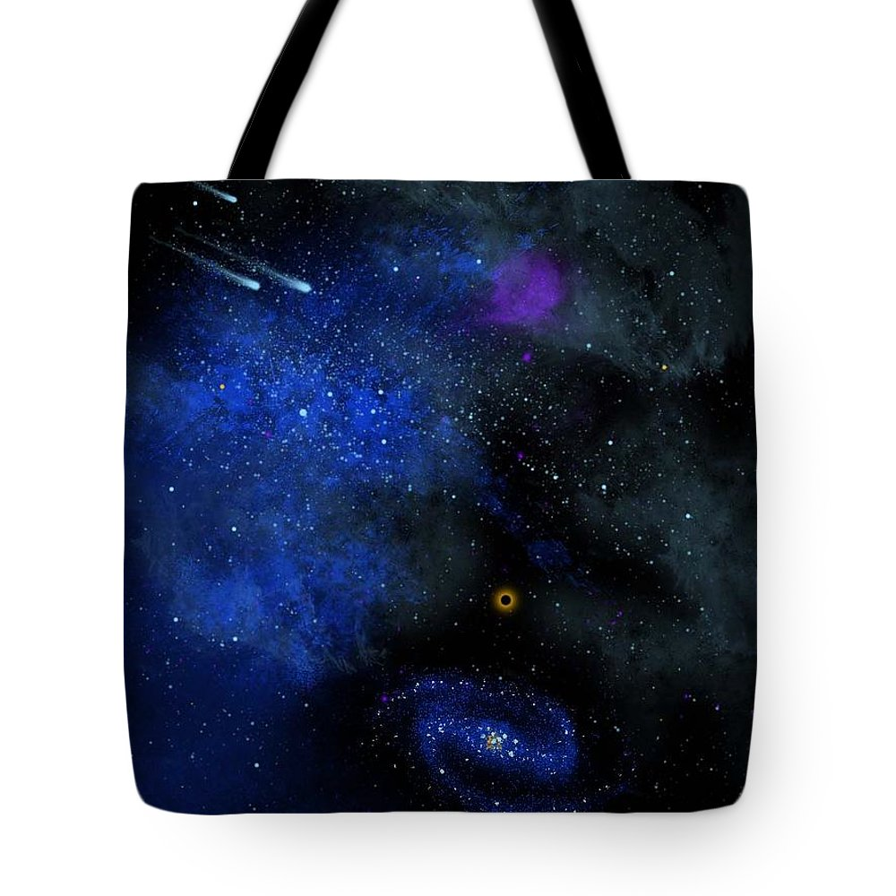 Wonders Of The Universe Mural Tote Bag featuring the painting Wonders Of The Universe Mural by Frank Wilson