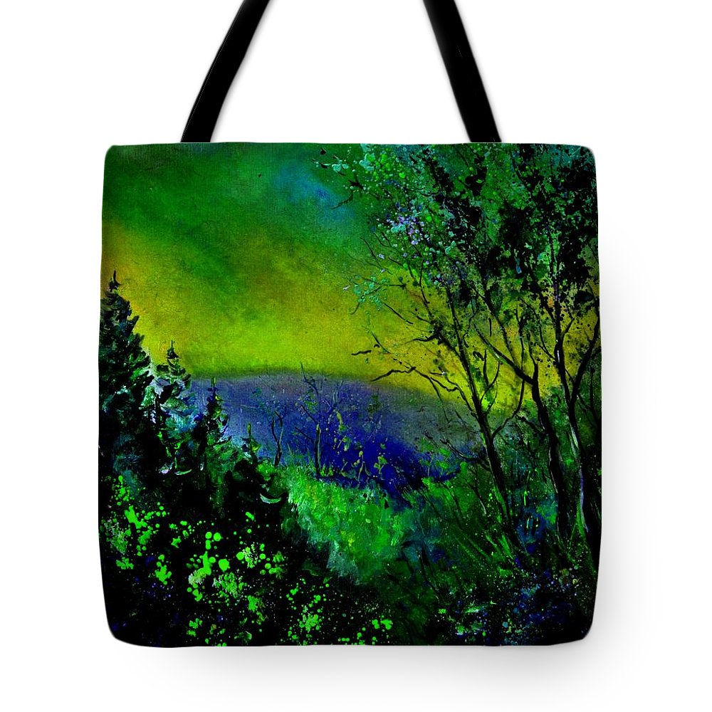 Wood Tote Bag featuring the painting Wood 957 by Pol Ledent