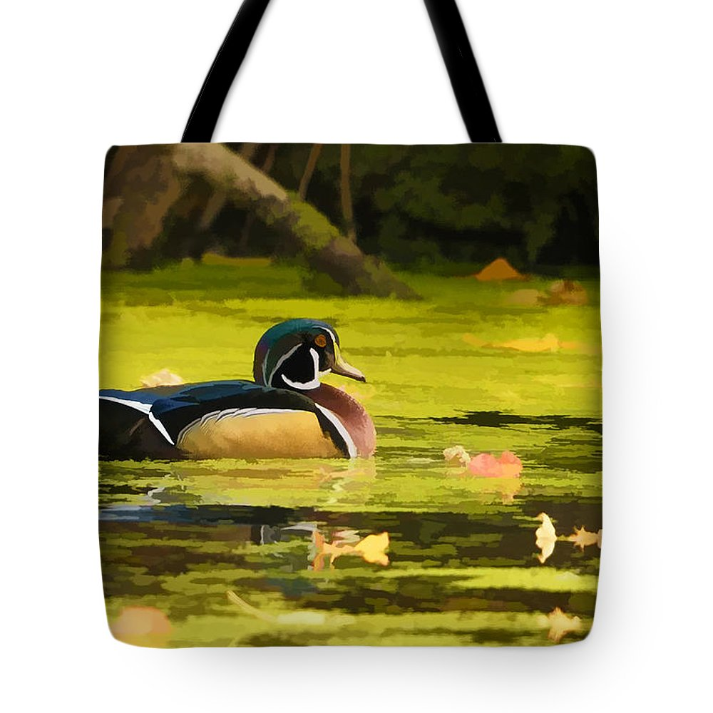 Wood Duck Tote Bag featuring the photograph Wood Duck On Pond  by William Jobes