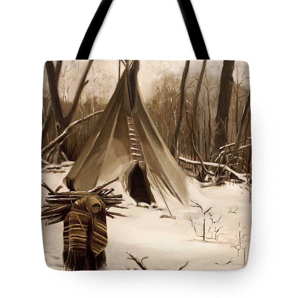 Native American Tote Bag featuring the painting Wood Gatherer by Nancy Griswold