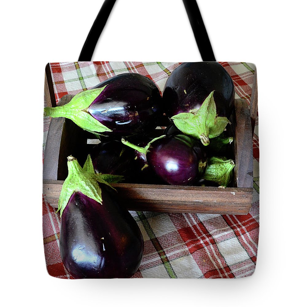 Purple Tote Bag featuring the photograph Wooden Basket Of Eggplant by Jessica Lynn Culver