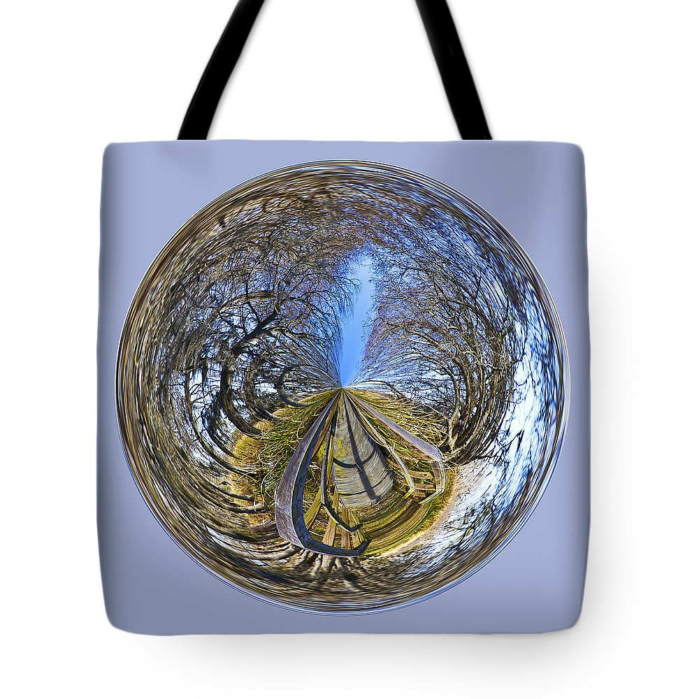 Orb Tote Bag featuring the photograph Wooden Bridge Orb by Bill Barber