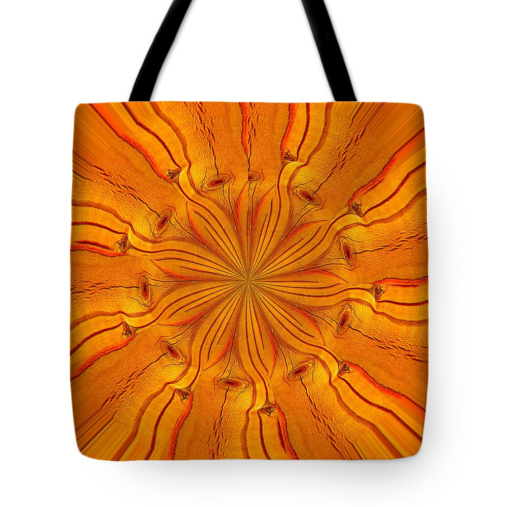 Abstract Tote Bag featuring the photograph Wooden Flower by Brent Dolliver