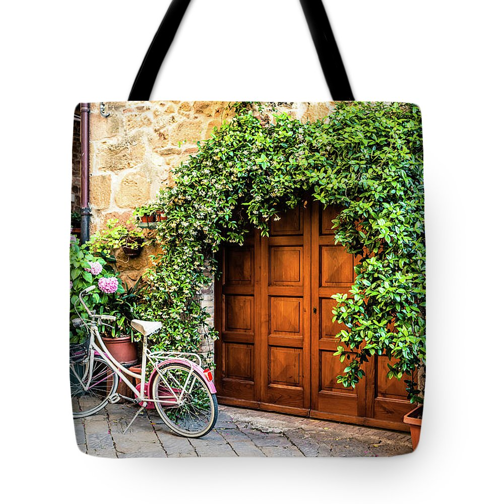Val D'orcia Tote Bag featuring the photograph Wooden Gate With Plants In An Ancient by Giorgiomagini