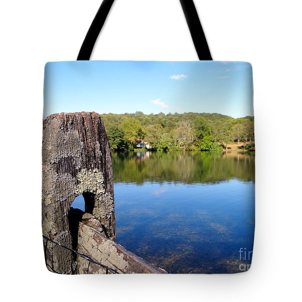 Fencepost Tote Bag featuring the photograph Wooden Post by Ed Weidman