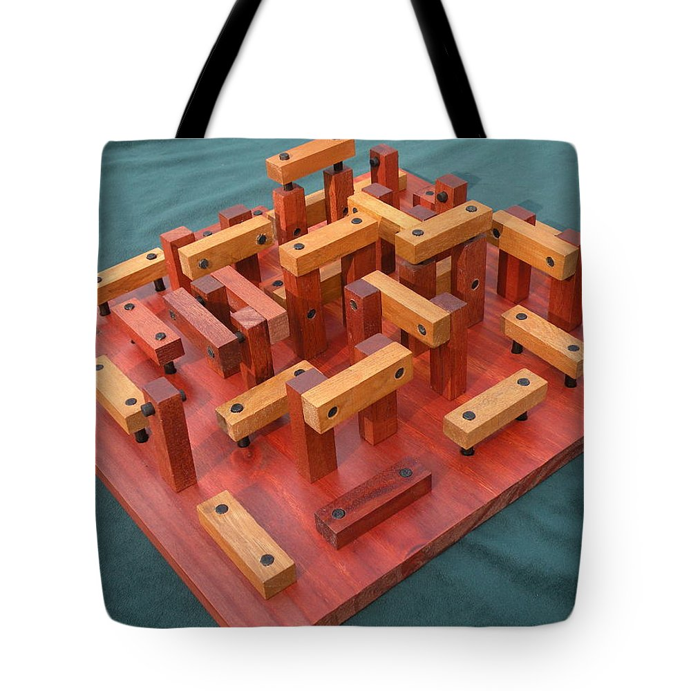 Wood Tote Bag featuring the sculpture Woodhenge by Dave Martsolf