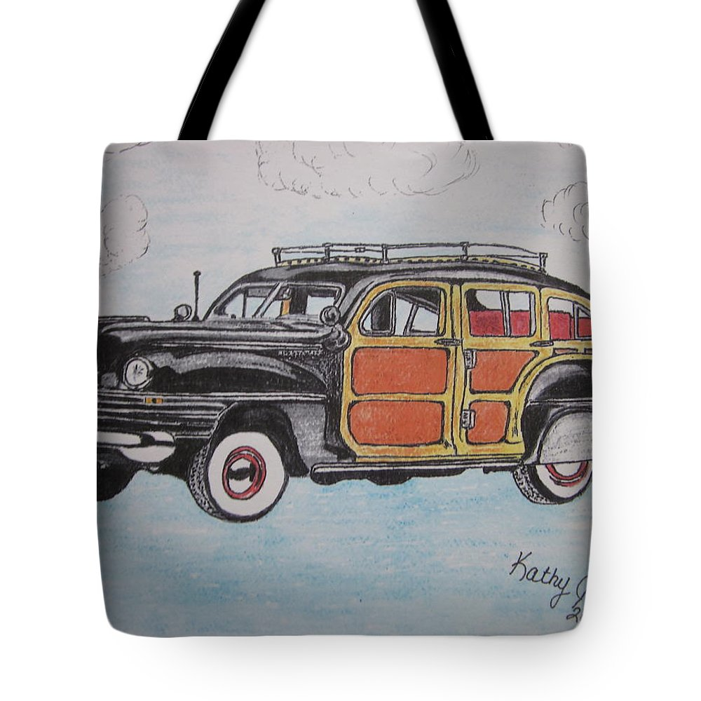 Woodie Tote Bag featuring the painting Woodie Station Wagon by Kathy Marrs Chandler