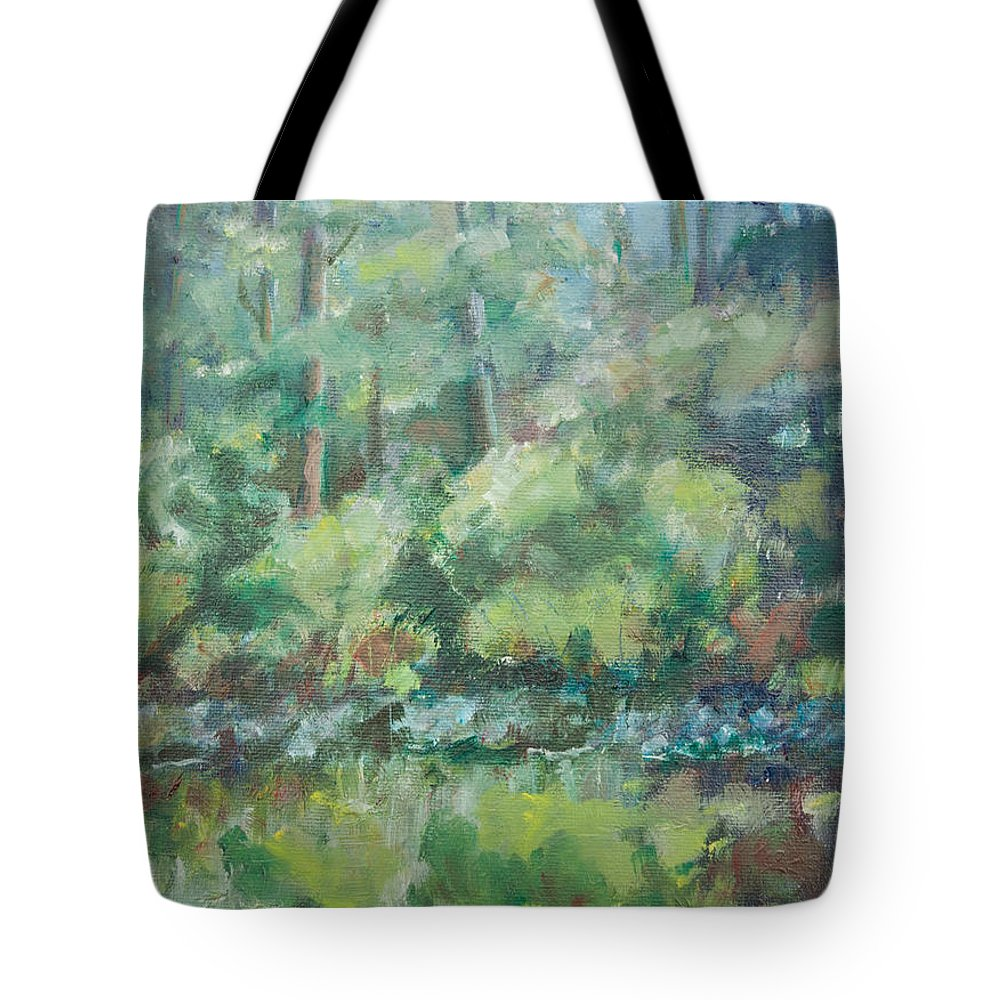 Woods Tote Bag featuring the painting Woodland Pond by Sarah Parks