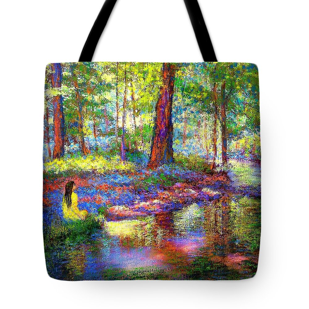 Floral Tote Bag featuring the painting Woodland Rapture by Jane Small