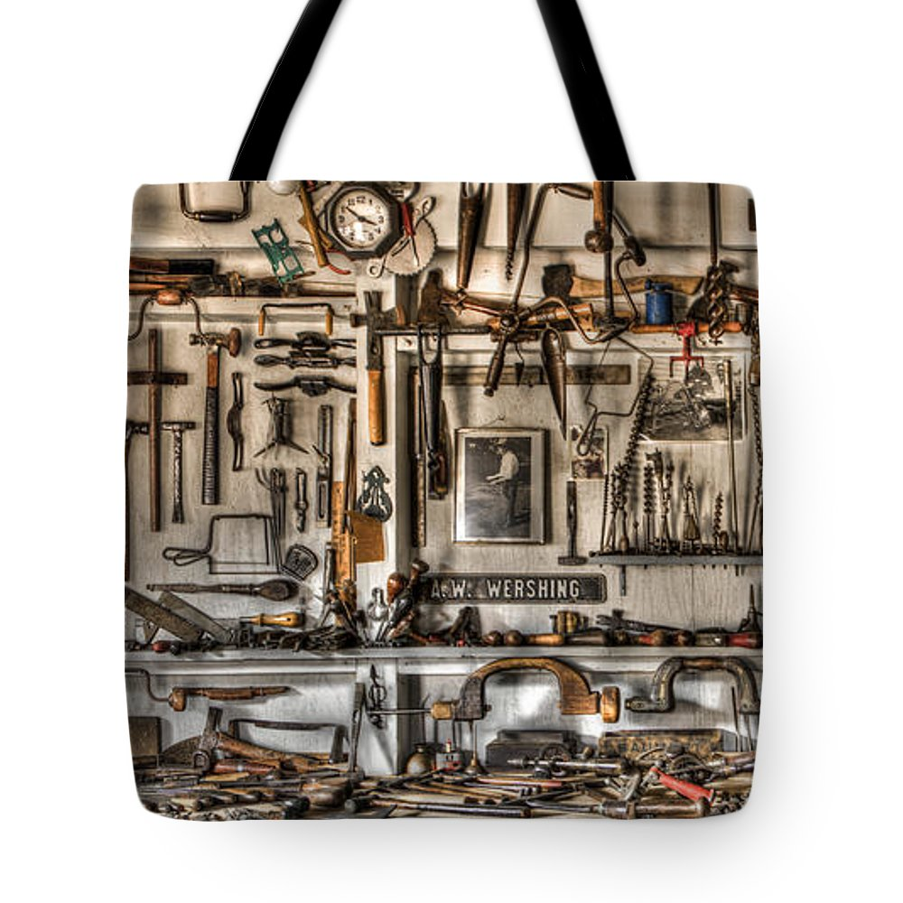 Appalachia Tote Bag featuring the photograph Woodworking Tools by Debra and Dave Vanderlaan