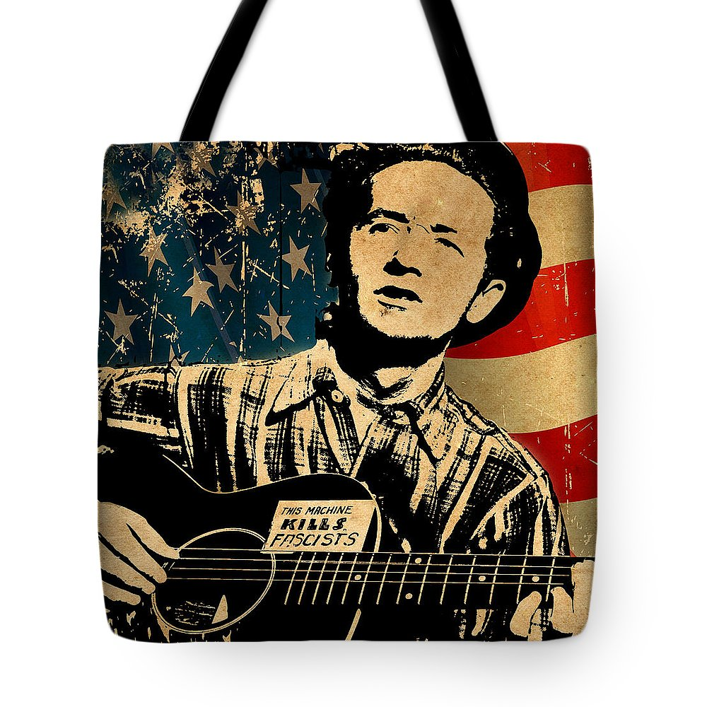Guthrie Tote Bag featuring the photograph Woody Guthrie 1 by Andrew Fare