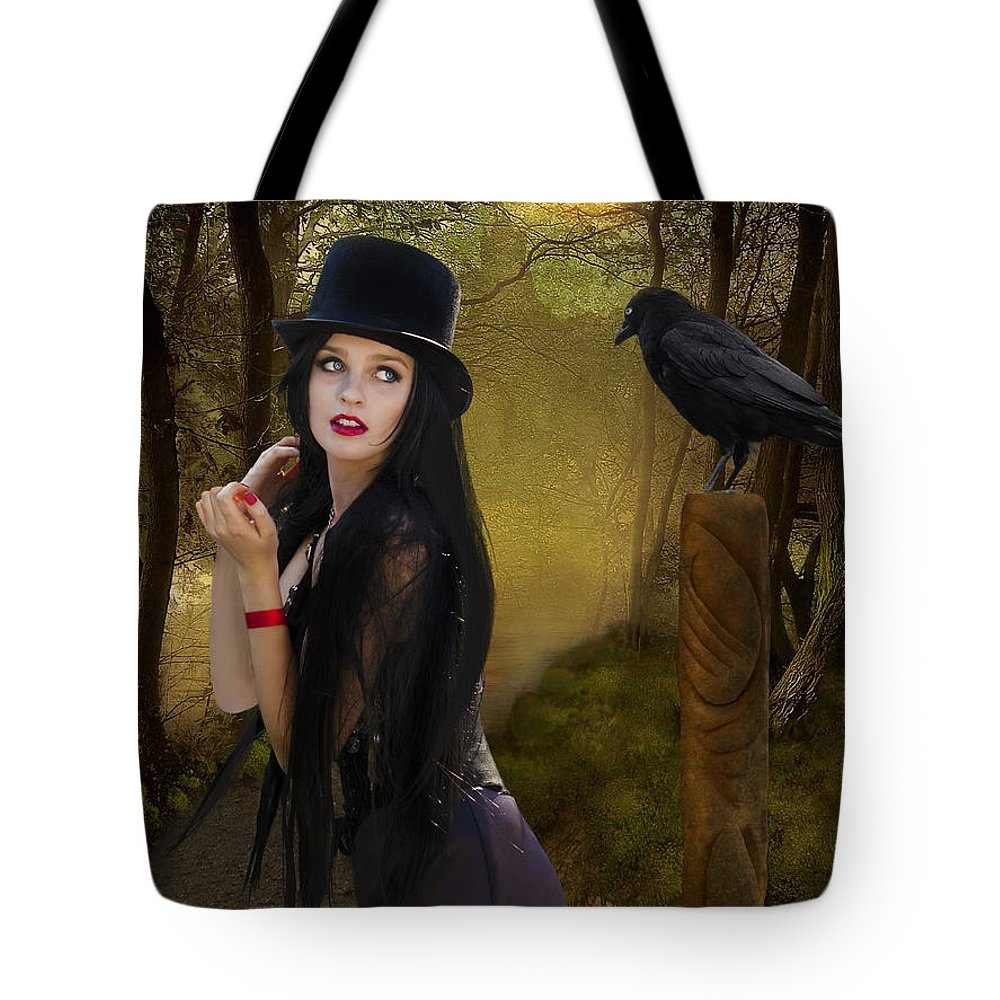 Magic Tote Bag featuring the digital art Words Of The Crow by Linda Lees