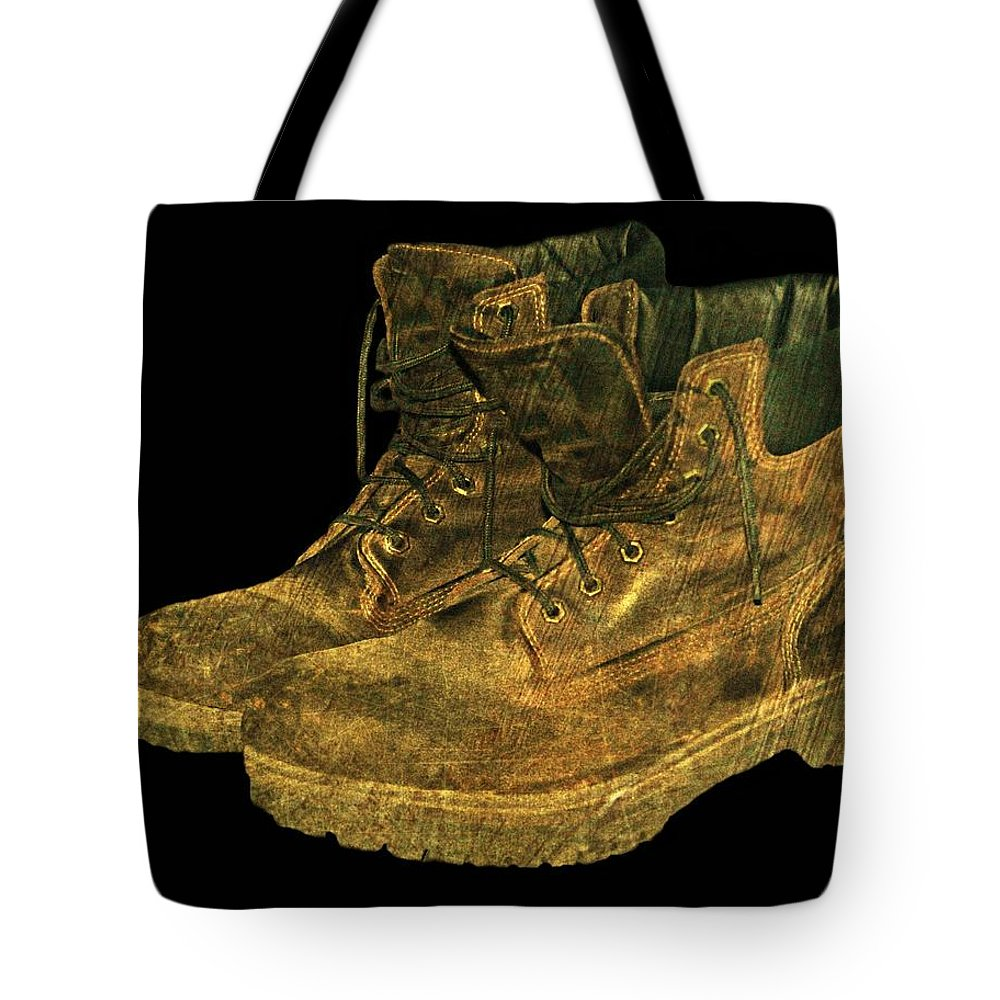 Boots Tote Bag featuring the photograph Work Boots by Diana Angstadt