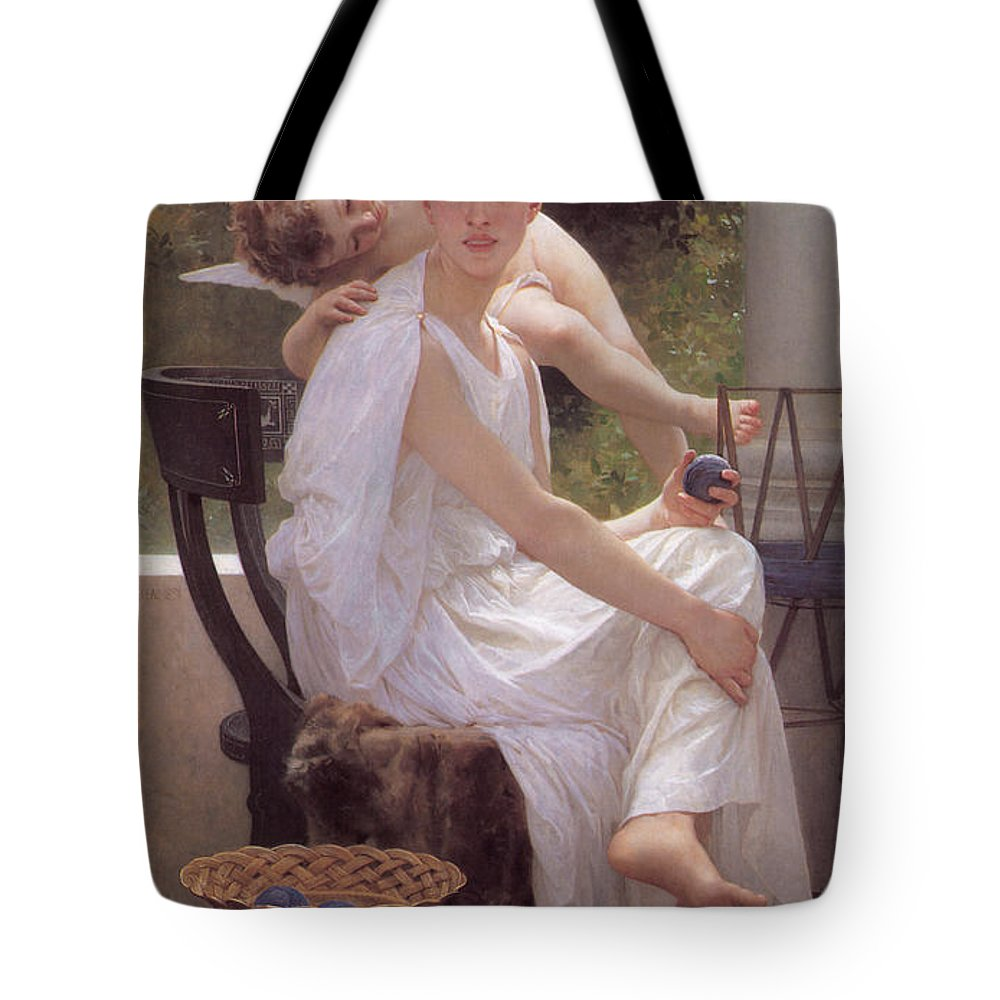 William-adolphe Bouguereau Tote Bag featuring the painting Work Interrupted by William-Adolphe Bouguereau