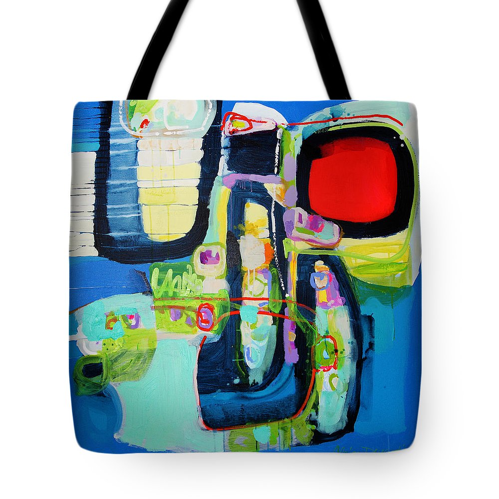Abstract Tote Bag featuring the painting Work It Out by Claire Desjardins