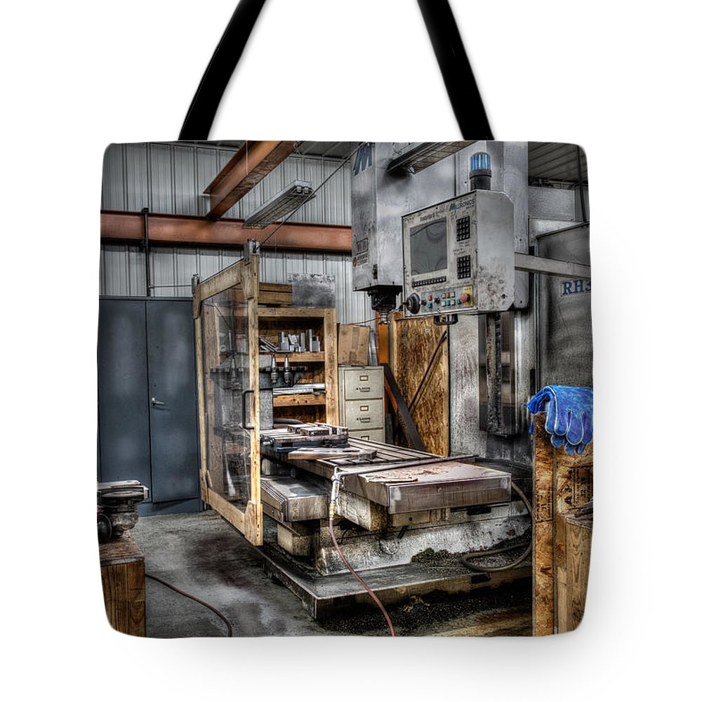 Hdr Tote Bag featuring the photograph Work Station Machinst Style by Paul Freidlund