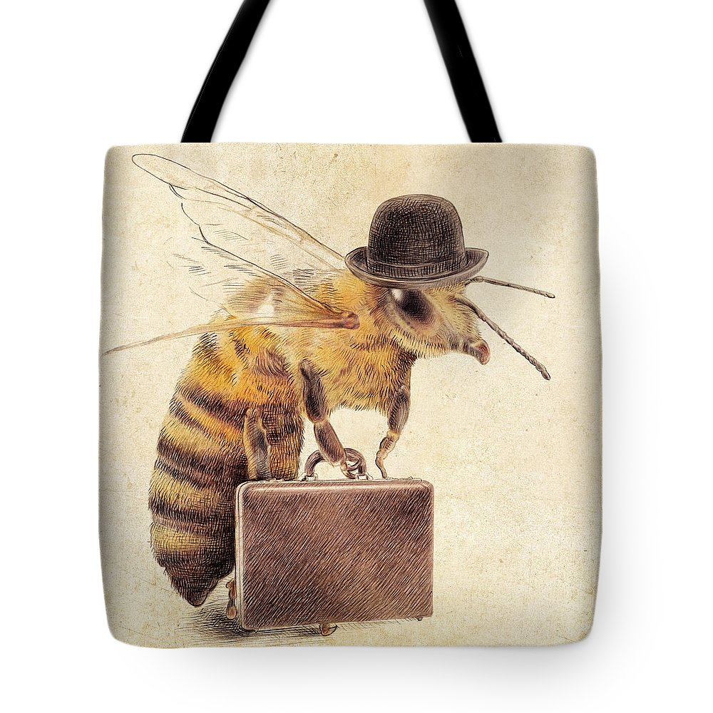 Bee Tote Bag featuring the drawing Worker Bee by Eric Fan