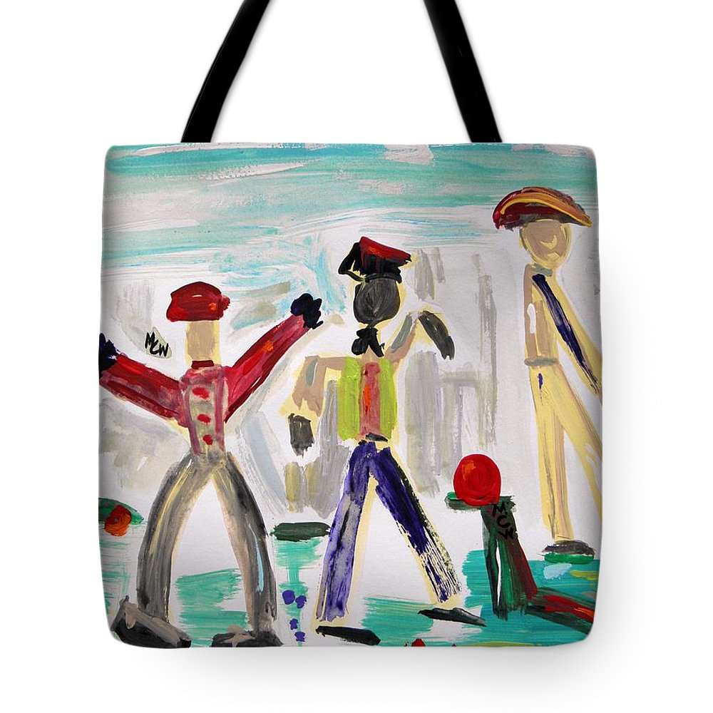 Men Tote Bag featuring the painting Working by Mary Carol Williams