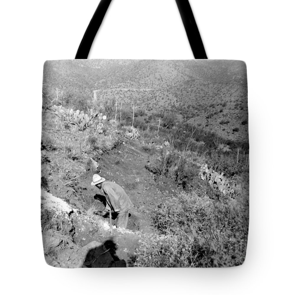Photograph By My Grand Father Taken In Arizona In The 1940's. This Is A Digital Photgraph Of The Negative. Tote Bag featuring the photograph Working The Mine by Larry Ward